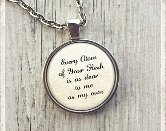 Jane Eyre Book Necklace, Famous Quote Necklace, Jane Eyre Necklace,  Every Atom Of Yours, Bookish, Gift for Book Lover, Book Lover Necklace