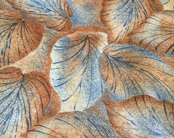 "Leaf Print Polyester Blouse or Scarf Fabric 60"" wide fabric, Great Drape, Sold by the yard, sewrm"