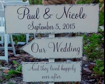 WEDDING SIGNS, FREE Stake, Bride & Groom Signs, Wedding Keepsake Signs, Happily Ever After, over 100.00 value