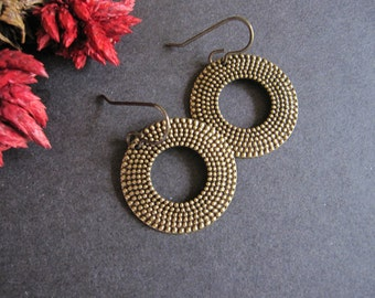 Circle Earrings, Geometric Earrings, Nailhead Texture, Dangle, Antique Brass, Textured Circle, Modern, Lightweight Earrings, Gifts for Her