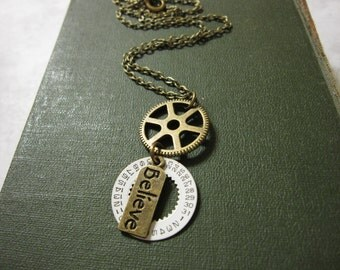 Gear Necklace, Steampunk Necklace, Charm Necklace, Vintage Watch Part, Geometric Jewelry, Believe Charm, Numbers, Circle Necklace, For Her