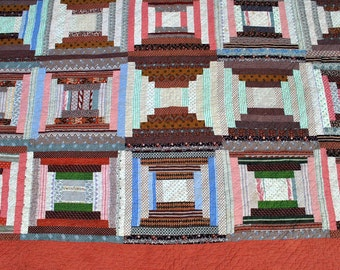 Vintage Quilt Log Cabin Homespun - Blues Reds Browns - Shirting Fabrics - Antique Quilt - late 1800s