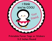 Penguin Valentine Tag, Instant Download Tags or Stickers --- Digital File of 12 2.5 inch Round Stickers or Tags