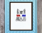 SALE 3D Glasses Cat Print Includes 5 backgrounds Instant Digital Download DIY Print yourself