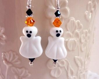 Ghost Earrings, Halloween Earrings, Handmade Lampwork