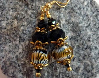 Tiger Stripe Earrings, Animal Print Earrings, Handmade Lampwork