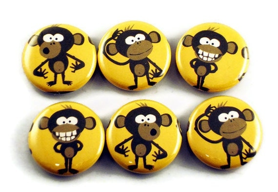 Funky Button Magnets   Crazy Monkey  (BM56)