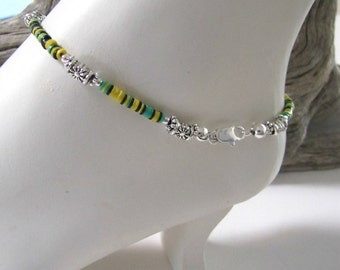 Paua Shell Anklet, Beaded Anklet, Blue, Yellow, Green Anklet Bracelet, Body Jewelry, Silver Beads, 9.25 inches  with / without extender