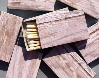 10 Matchbox Wedding Favors woodgrain birch pine wood light white Party Personalized Custom Sparkler Sparks Flew Bridal Perfect Match