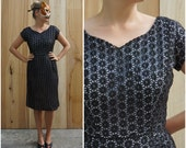 Vintage 50's/60's Black Lace Eyelet Wiggle Dress | Medium