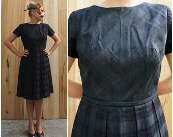 Vintage 50's Black Plaid Day Dress with Full Skirt by Jeanie Petite | Medium