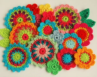 Crochet Flower Pattern - Mini Mandala Crochet Applique pattern instant download