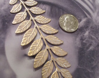 Gold Plated White Frosted Fern Leaf Branch Brass Stamping Bent or Straight 91WHT x1