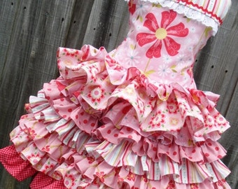 ON SALE Ready to Ship Custom Boutique Sweet Divinity Pink Red 2 Piece Set Ruffle Girl size 4 or 5