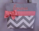 Set of 4 ... Gray CHEVRON  ... Coral  Accents ... Flower Girls Bags ...  Child Size .. .  GiRL  Purse ...   ...  Monogrammed