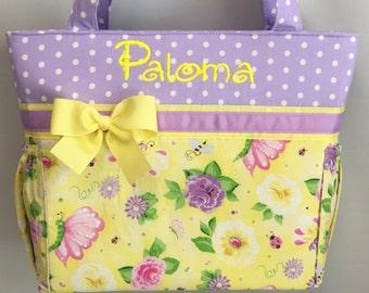 Butterflies and  Flowers   .. Diaper Bag .. Bottle Pockets .. Monogrammed Free