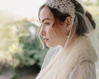 Lace Juliet bridal cap wedding veil - Stardust no. 2156