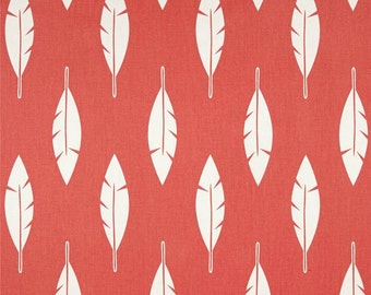 Premier Prints Feather Silhouette Coral and White - Yardage