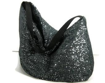 FREE SHIPPING Silver Sequin Hobo Bag Sequin Purses Gray Sequin Hobo Bag Boho Bag Sequined Gym Bag Glam Hobo Bag Gray Sequined Travel Bag