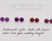 Memorial Beads,Flower Petal Jewelry,Handmade Jewerly,Memorial Gift Idea,Handmade Earrings, Amelia Earrings