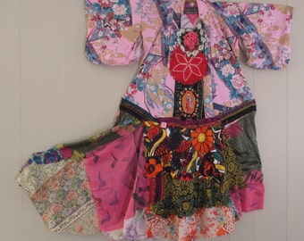 festival DRESS of many colors - Altered Japanese KIMONO  -Wearable Fabric Folk Art  Collage Couture - Plus Size XL - myBonny random scraps