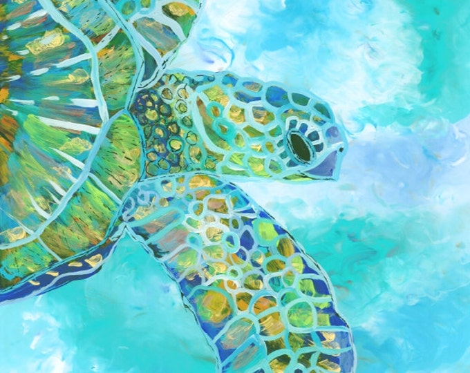 Original Sea Turtle Painting - Reverse Acrylic Art -  Hawaiian Honu Sea Turtle - Whimsical Ocean Art - Kauai Art - Green Sea Turtle