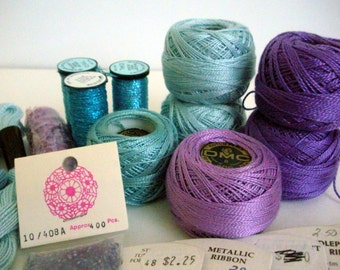 Needlepoint Yarns Floss Ribbon, DMC Cotton Perle, Watercolours by Caron, Rainbow Linen, Kreinik Metallics Lot