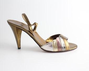 sz 6.5 - 7 | Vintage 1970s Leather Sandal | Van Eli Metallic Leather High Heel Shoes | 37 - 37.5