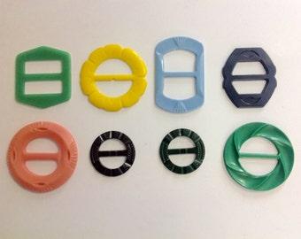 Set of Vintage Plastic Buckles in great colors