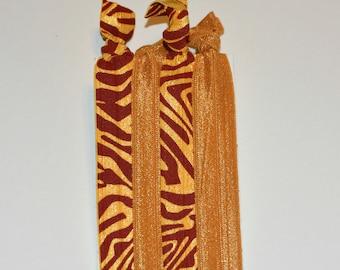 Hair Ties - No Pull - Garnet & Gold Set of 4