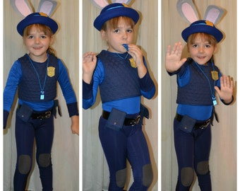 Bunny Cop Judy Costume - Catsuit, Belt and Vest