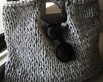 Modern BoHo Knitted Tote Granite Gray