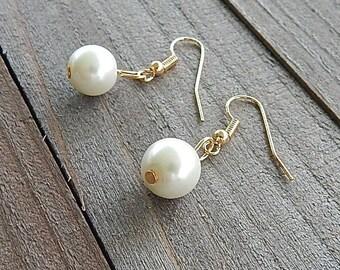 White Single Pearl Drop Earrings