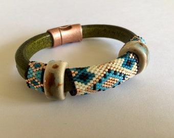 Leather with Lampwork Glass and Peyote Stitch Beads Bracelet