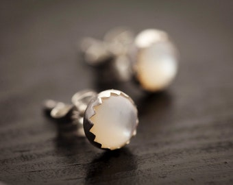 Mother of Pearl Earrings - Genuine Mother of Pearl Shell and Sterling Silver Post Earrings, Bezel Set White Earrings, 6mm studs, Tiny Studs