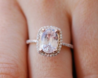 Rose gold engagement ring. Peach sapphire 4.13ct peach champagne sapphire 14k rose gold diamond ring by Eidelprecious