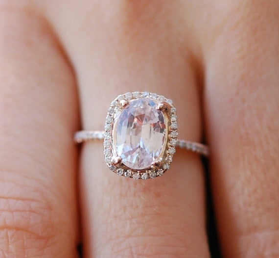 Rose gold engagement ring. Peach sapphire 4.72ct peach champagne sapphire 14k rose gold diamond ring by Eidelprecious