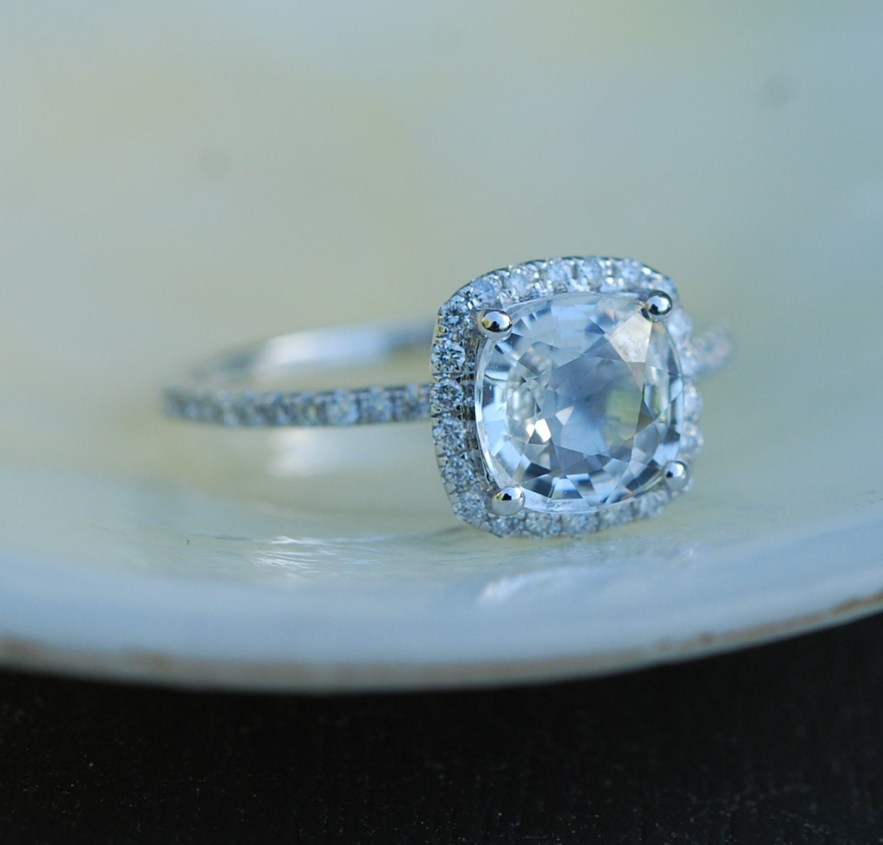 White Sapphire Engagement Ring Cushion cut sapphire ring