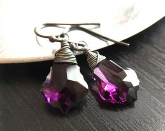 Statement Crystal Earrings, Amethyst Purple Oxidized Sterling Silver Earrings Gift for women, sister, mom, aunt, girlfriend, wife