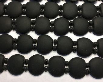 2 Hole Cultured Sea Glass Beads Black Coke Bottle Seafoam 21mm x 17mm 12 Double Hole Oval Beads