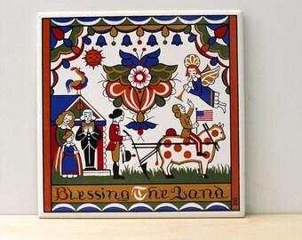 Vintage Berggren tile. Blessing the Land. Design 203.