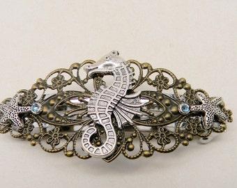 Steampunk hair clip. Steampunk sea horse barrette. steampunk jewelry.