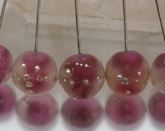 Lampwork headpins - Silvered Nuggets (1) - Gold Ruby on sterling silver wire. Lampwork by Jennie Yip