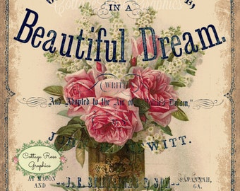 Beautiful Dream vintage music cover pink roses Large digital download single image BUY 3 get one FREE ecs Prinatable