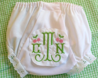 Embroidered Monogram Cherries Bloomers Diaper Cover Panty Baby Child