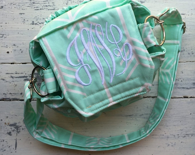 Mint Arrows Monogrammed Personalized Padded Camera Bag Cannon Rebel 55mm