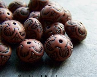 Etched Bead, Tribal Bead, Boho Bead, Rondelle Bead, Saucer Bead, Rust Beads, 20 Beads