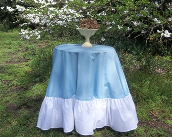 """Floor Length Ruffled Tablecloth Blue White Easter Table Cloth 72"""" Handmade French Prairie Cottage Chic 72"""""""