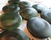 10 BIG Dark Green Vintage Buttons Hunter Green Shank Buttons