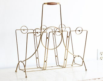 Vintage magazine rack - metal - wood - gold tone - retro - Danish Modern